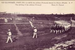 Carte postale des Jeux Olympique 1924 - Défilé des finlandais.