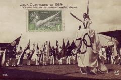 Carte postale des Jeux Olympique 1924 - La prestation de serment par Géo André.