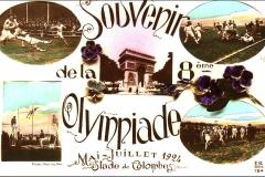 Carte postale souvenir de la 8eme Olympiade de 1924.