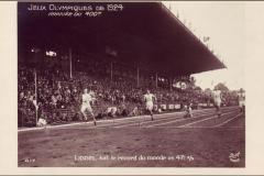 Carte postale Jeux Olympique 1924 -Arrivée du 400m.