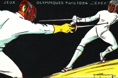 Jeux Olympiques de Paris 1924 - Carte postale Pautauberge - Escrime.