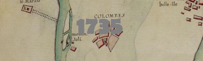 Le cours de la Seine autour de Colombes en 1735.