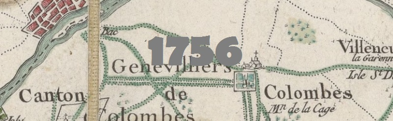 Carte de Cassini de la région de Colombes en 1756.
