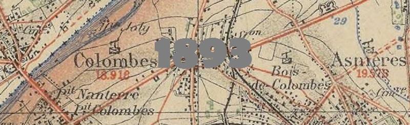 Carte routière de Colombes en 1893.