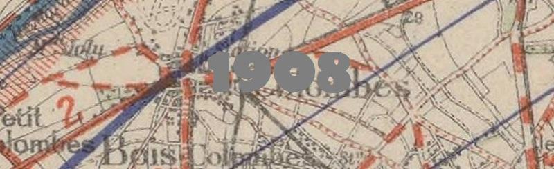 Carte routière de la ville de Colombes en 1908.