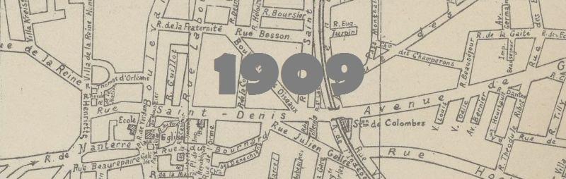 Plan de la ville de Colombes en 1909