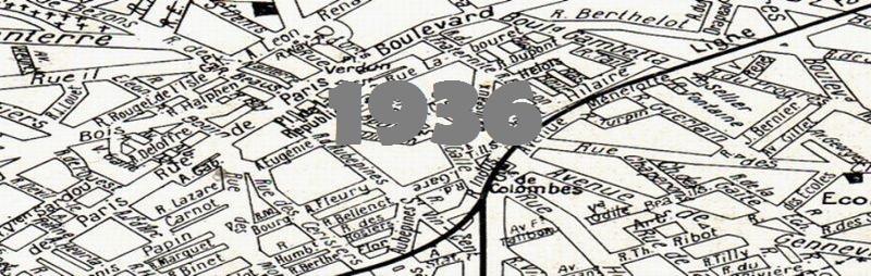 Carte de la ville de Colombes en 1936.