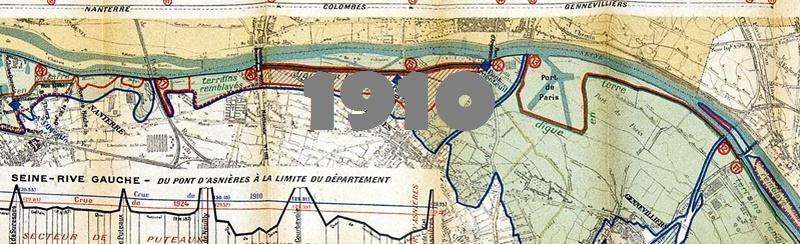 Carte des inondations de la Seine en 1910 et 1924 autour de Colombes.
