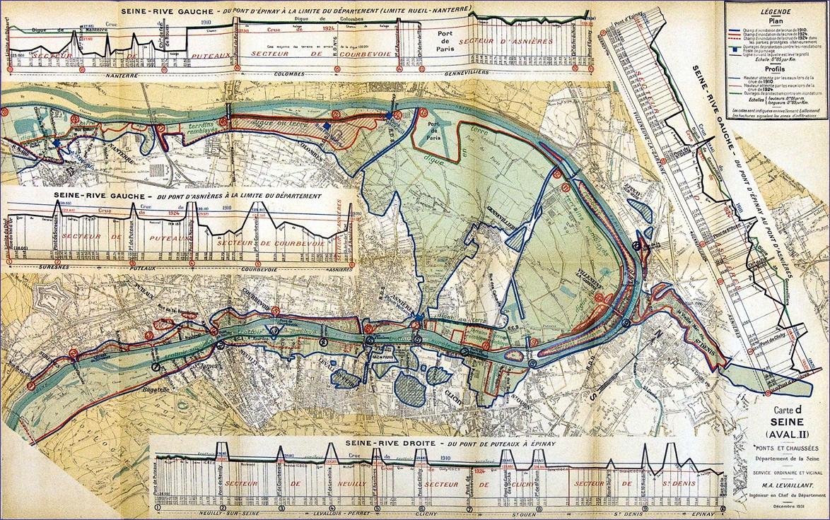 Carte des inondations de la Seine en 1910 et 1924.