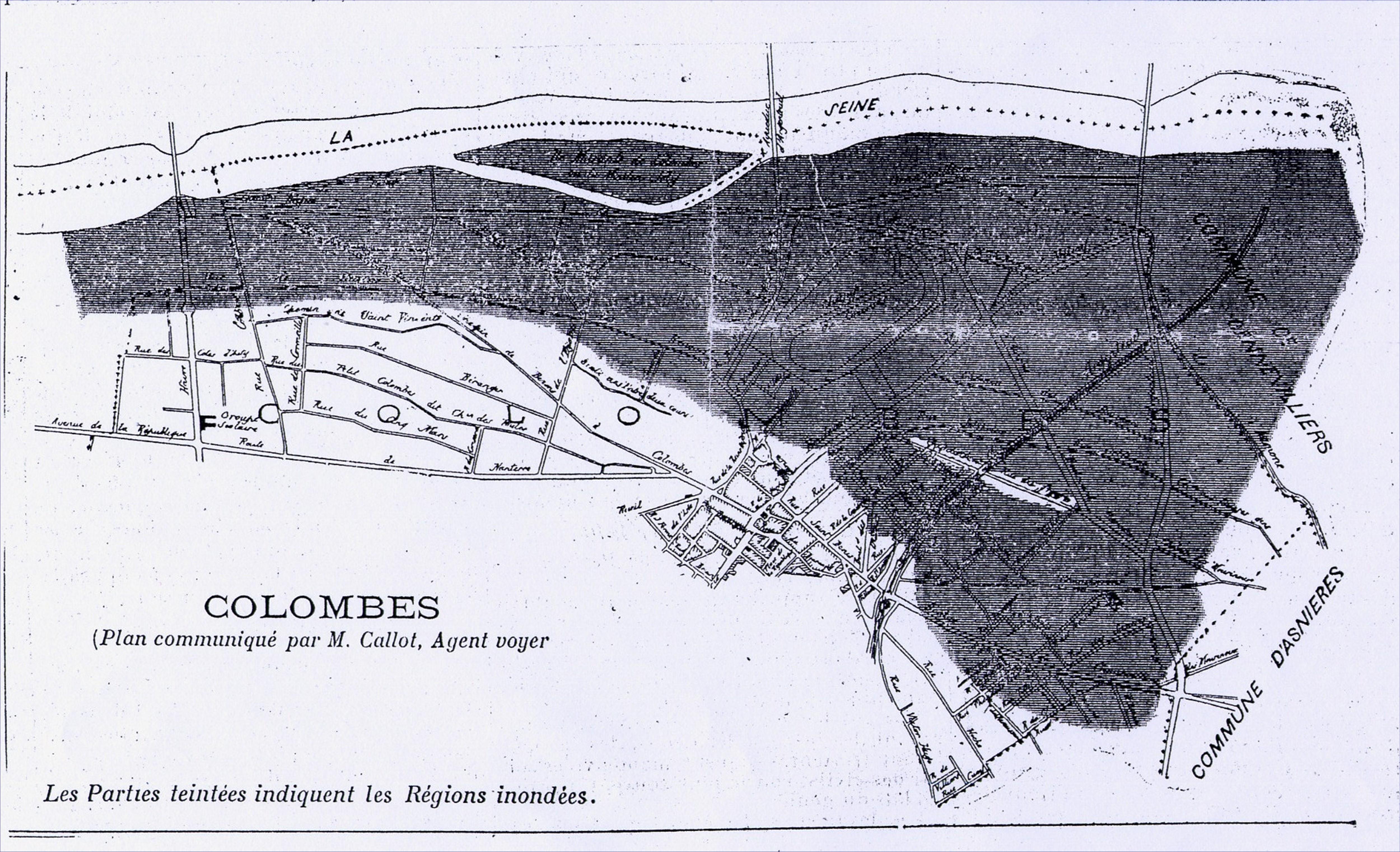 Carte de Colombes pendant les inondations de la Seine en 1910