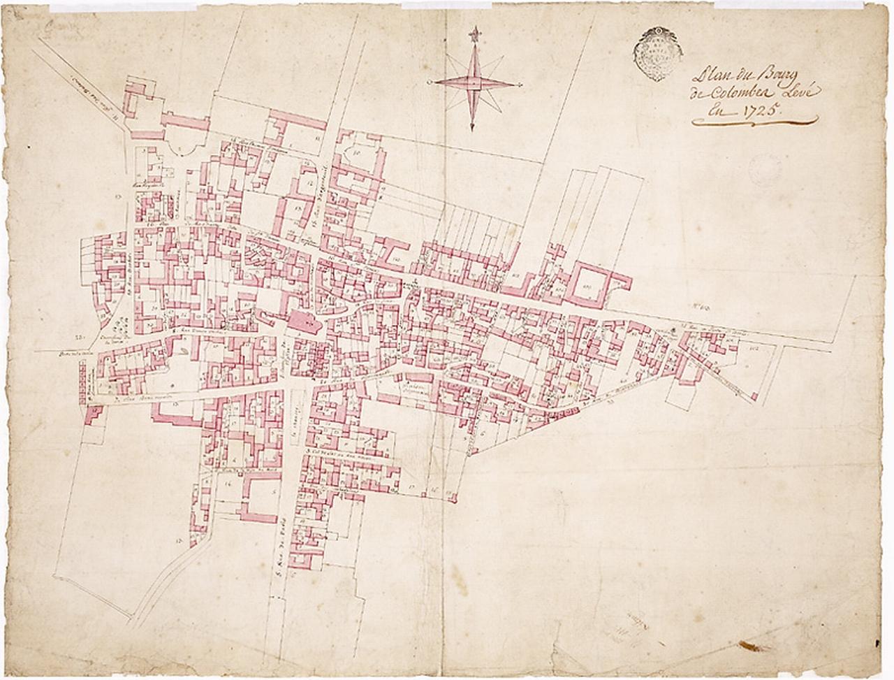 Plan du Bourg de Colombes levé en 1725 - Aquarelle sur papier collé sur toile -Musée du Domaine départemental de Sceaux.