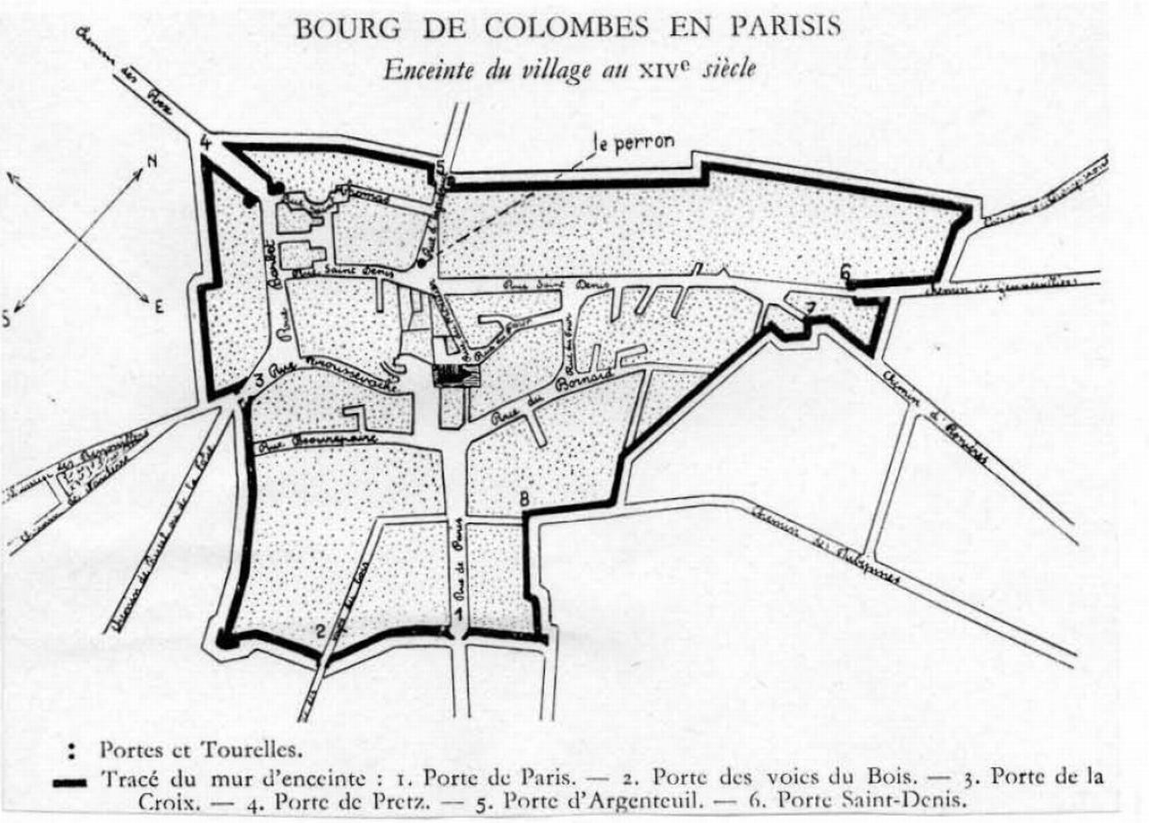 L'enceinte du village de Colombes au XIVe siècle.