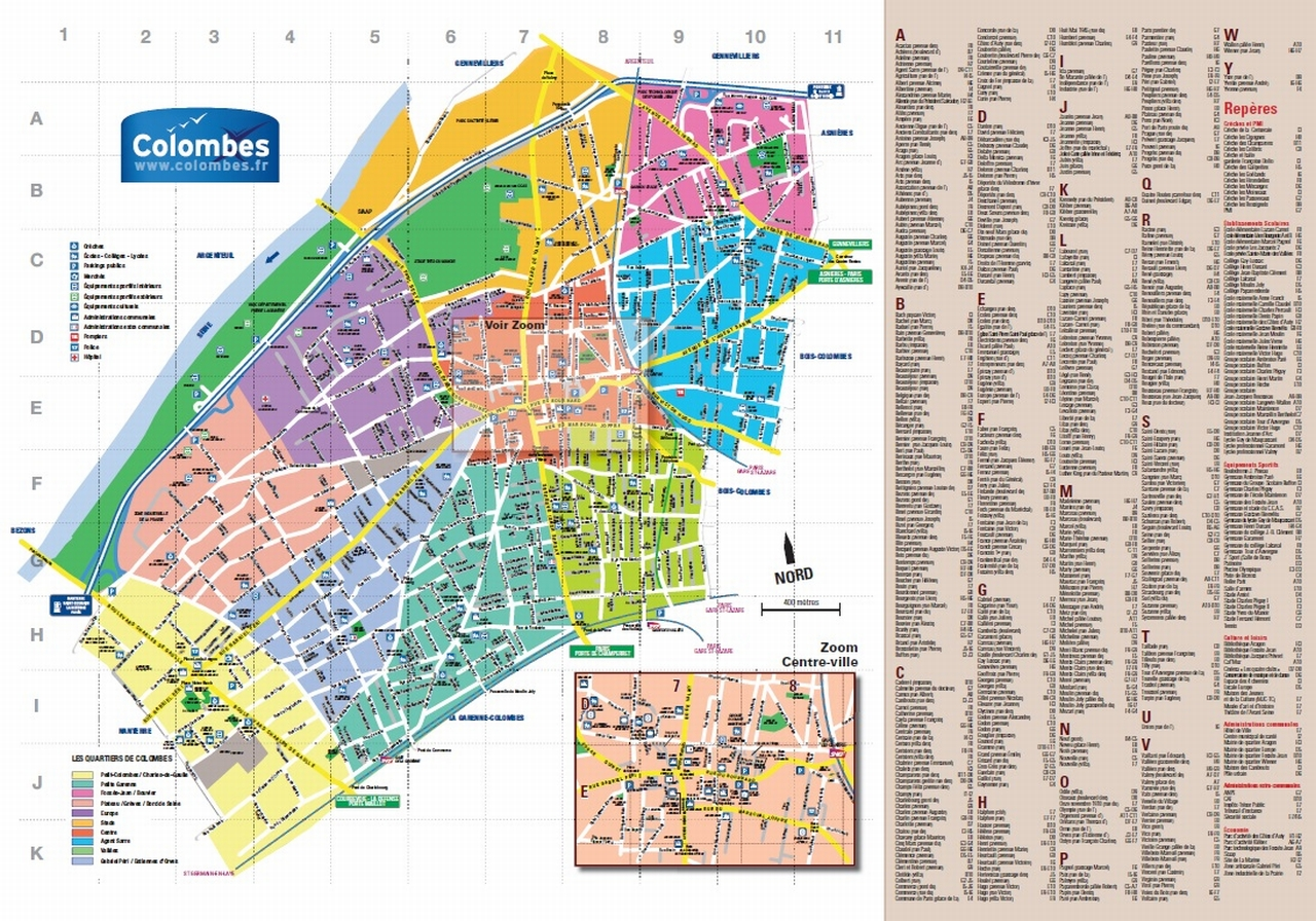 Plan de la ville de Colombes en 2015.