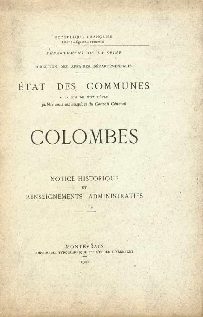 Livre - Colombes - Etat des communes à la fin du XIXeme siècle.