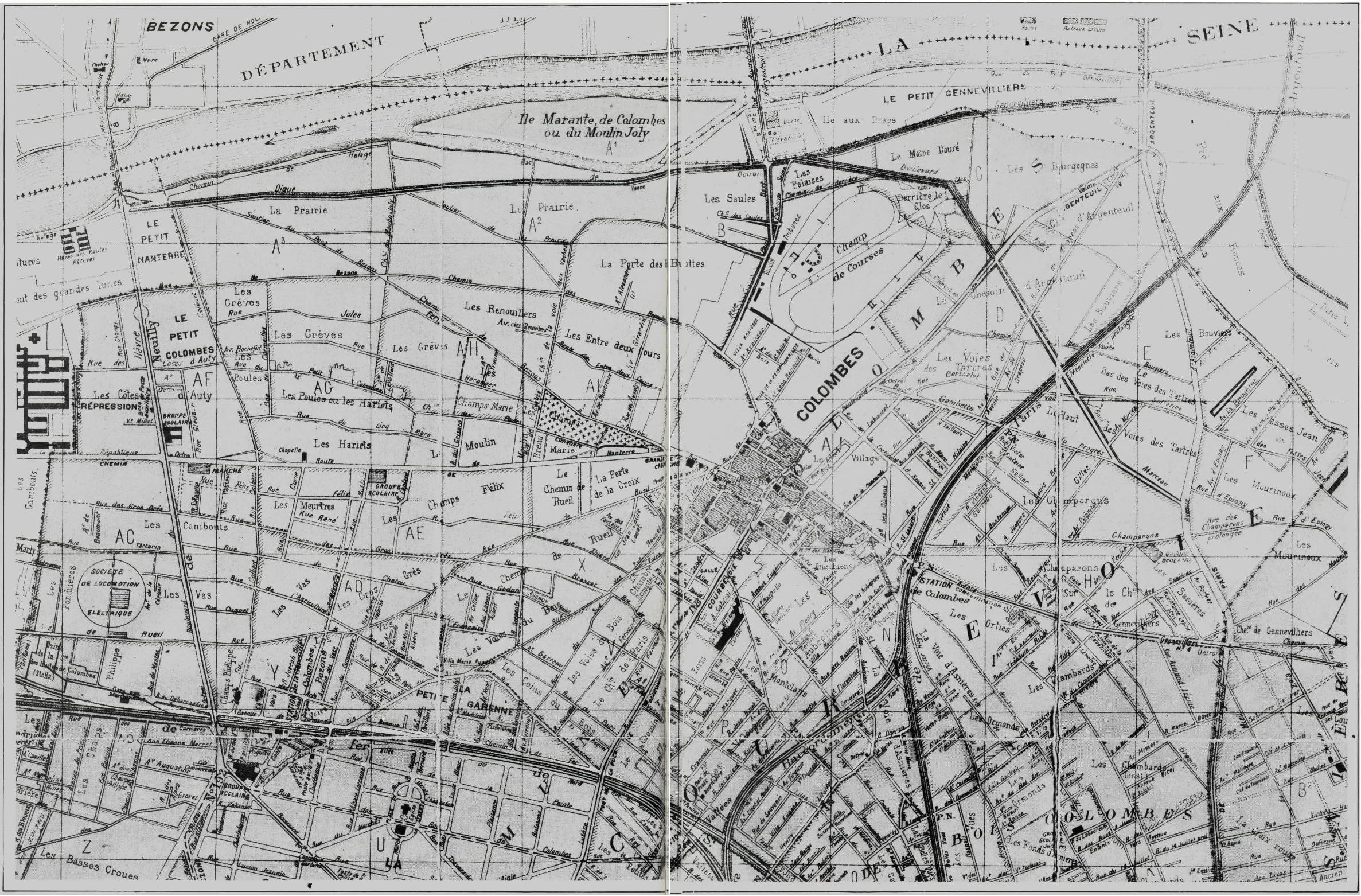 Plan de la ville de Colombes en 1900.