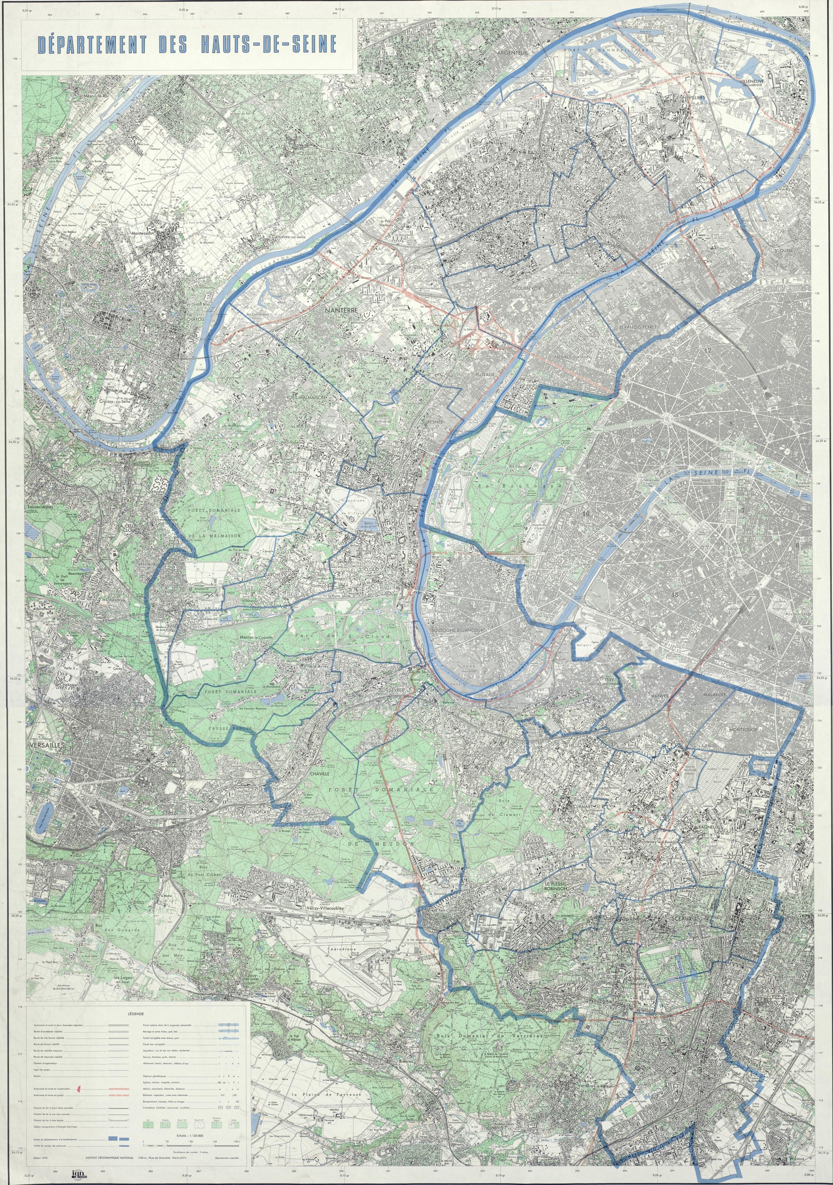 Carte des Hauts de Seine en 1970.