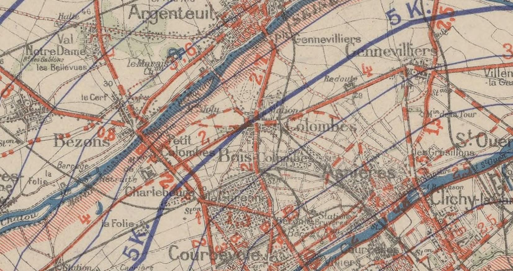Carte routière de Colombes en 1908.