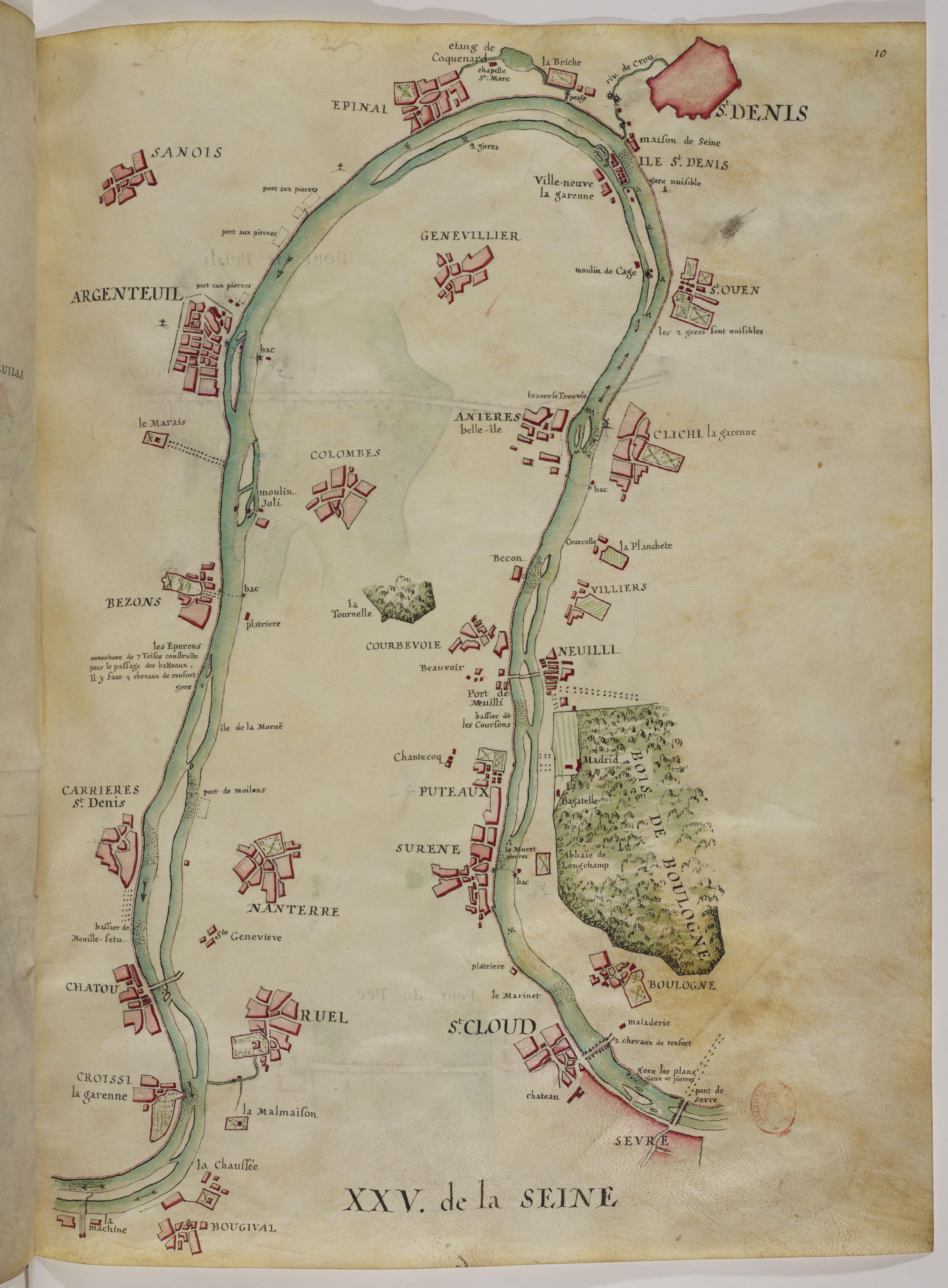 Plan de Colombes en 1735 - Cours de la Seine.