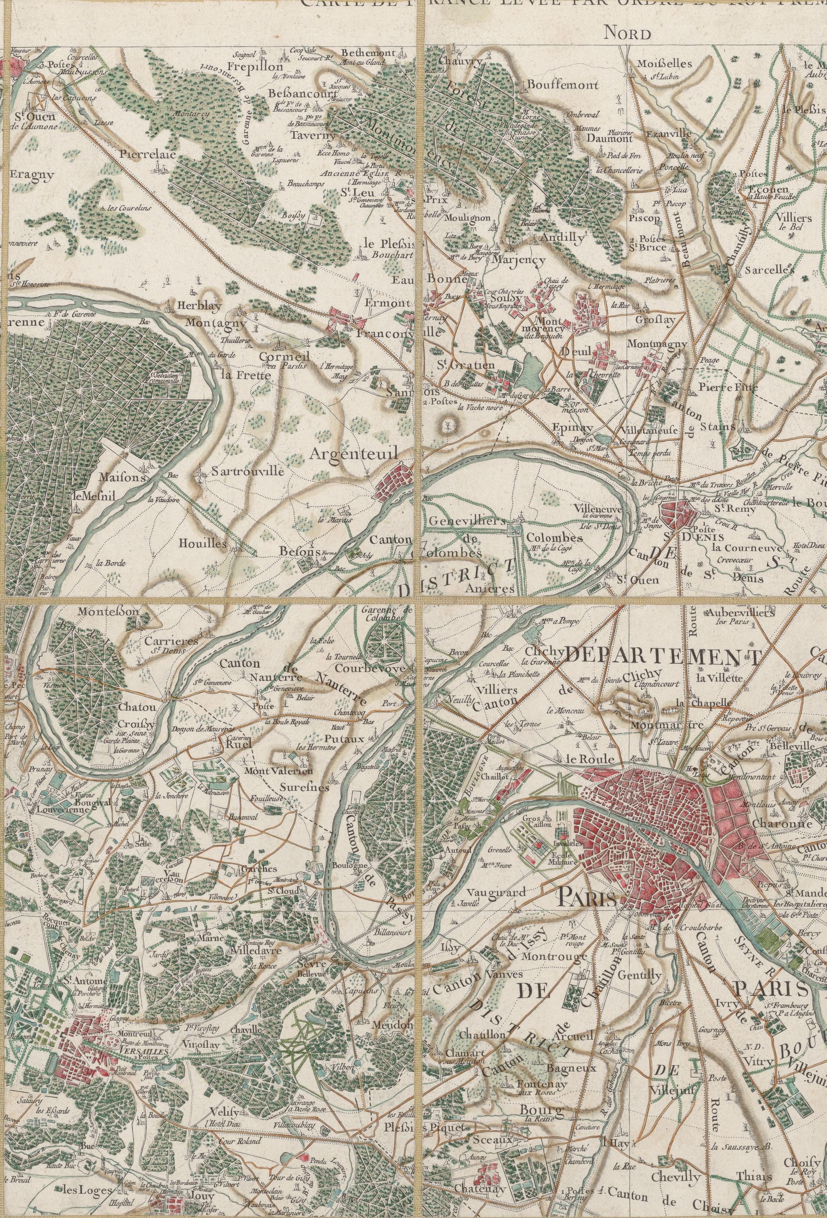 Plan de Colombes en 1756 - Carte de Cassini.