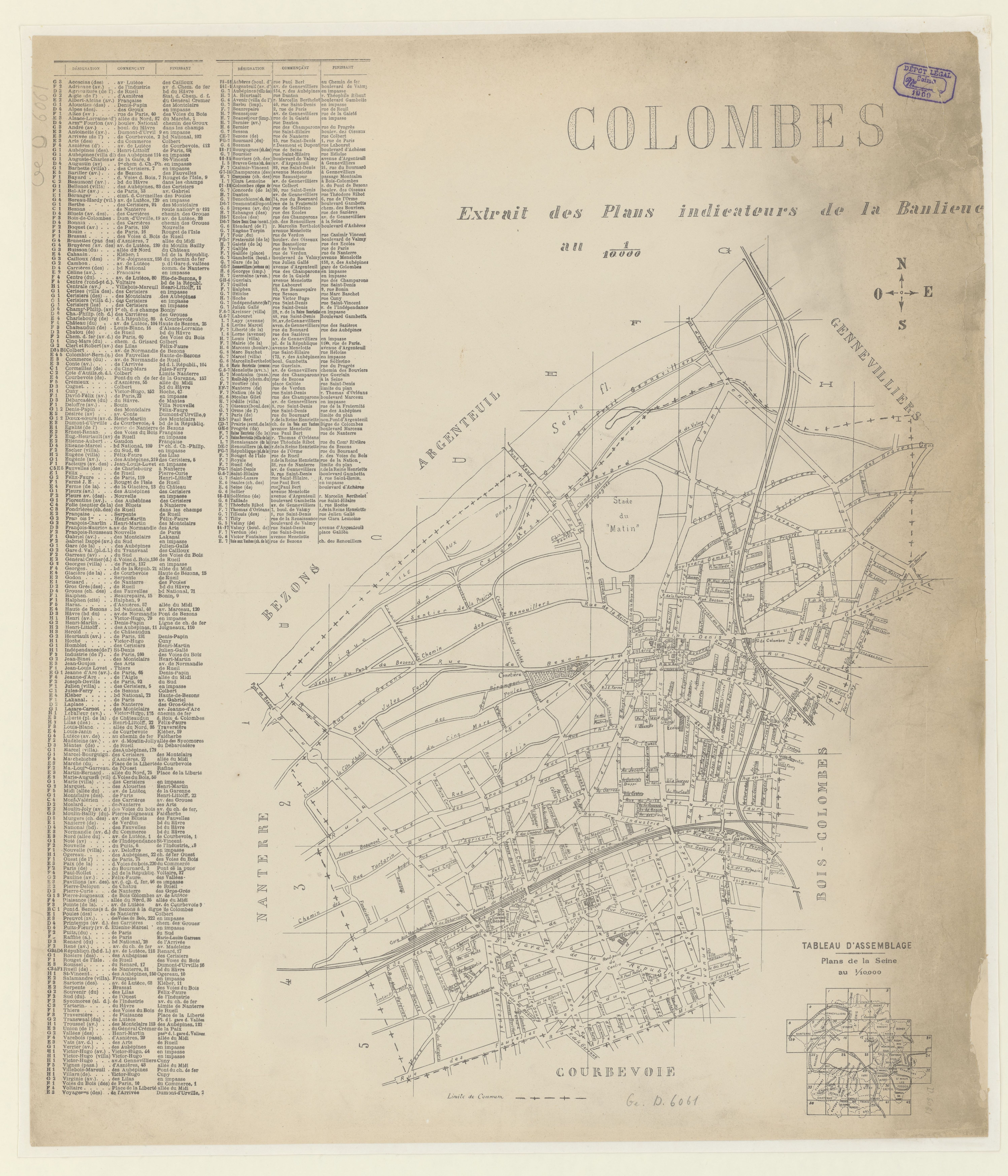 Plan de Colombes en 1909