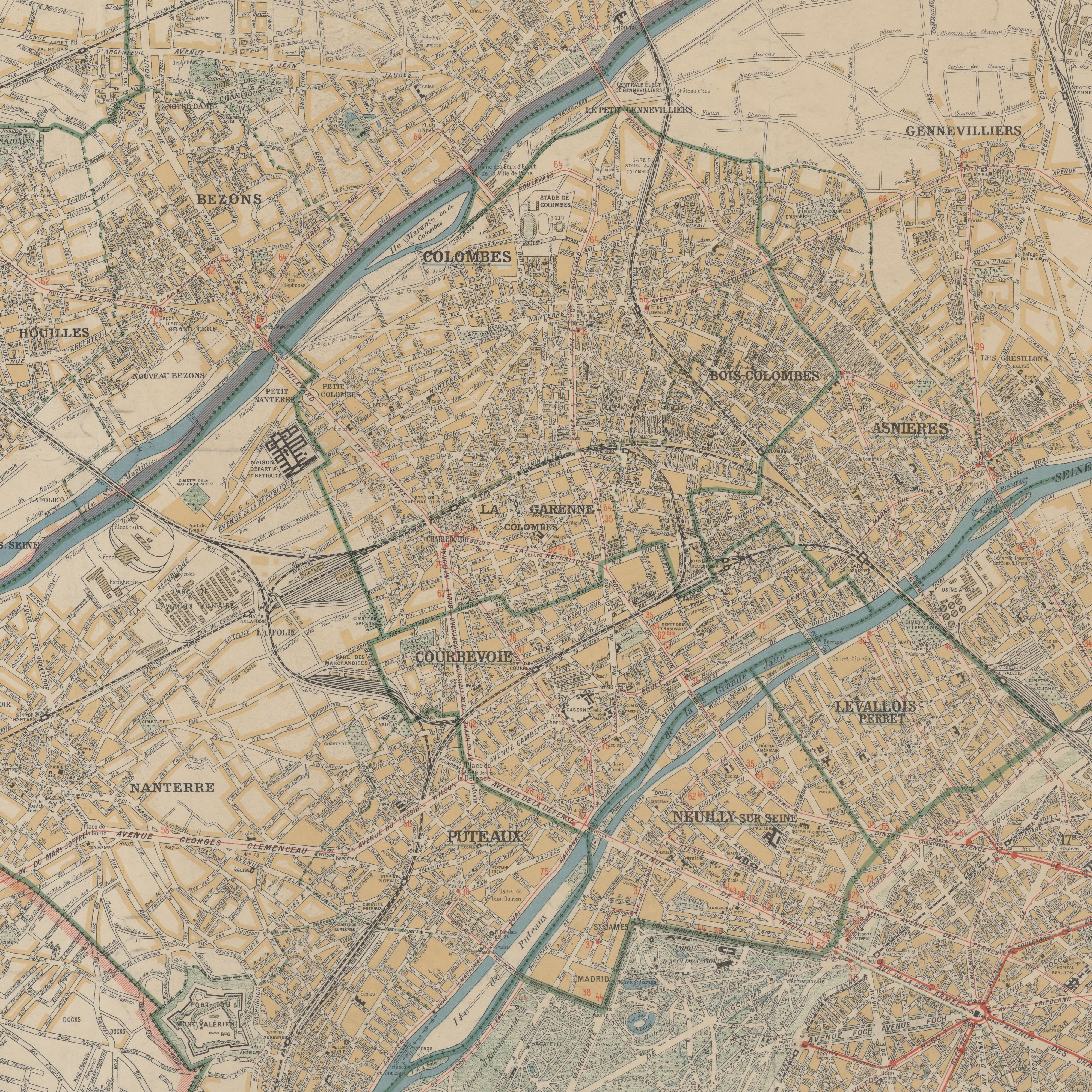 Plan de Colombes en 1931.