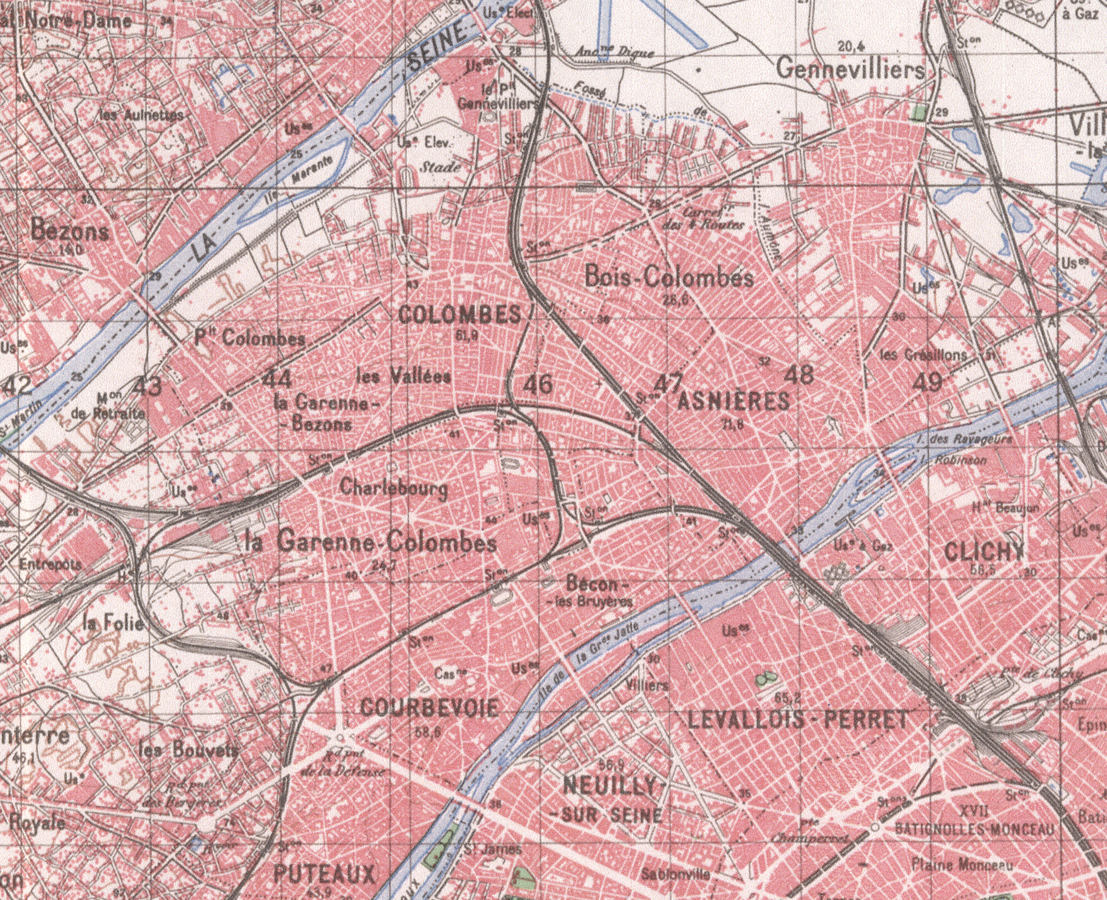 Plan de Colombes en 1950.