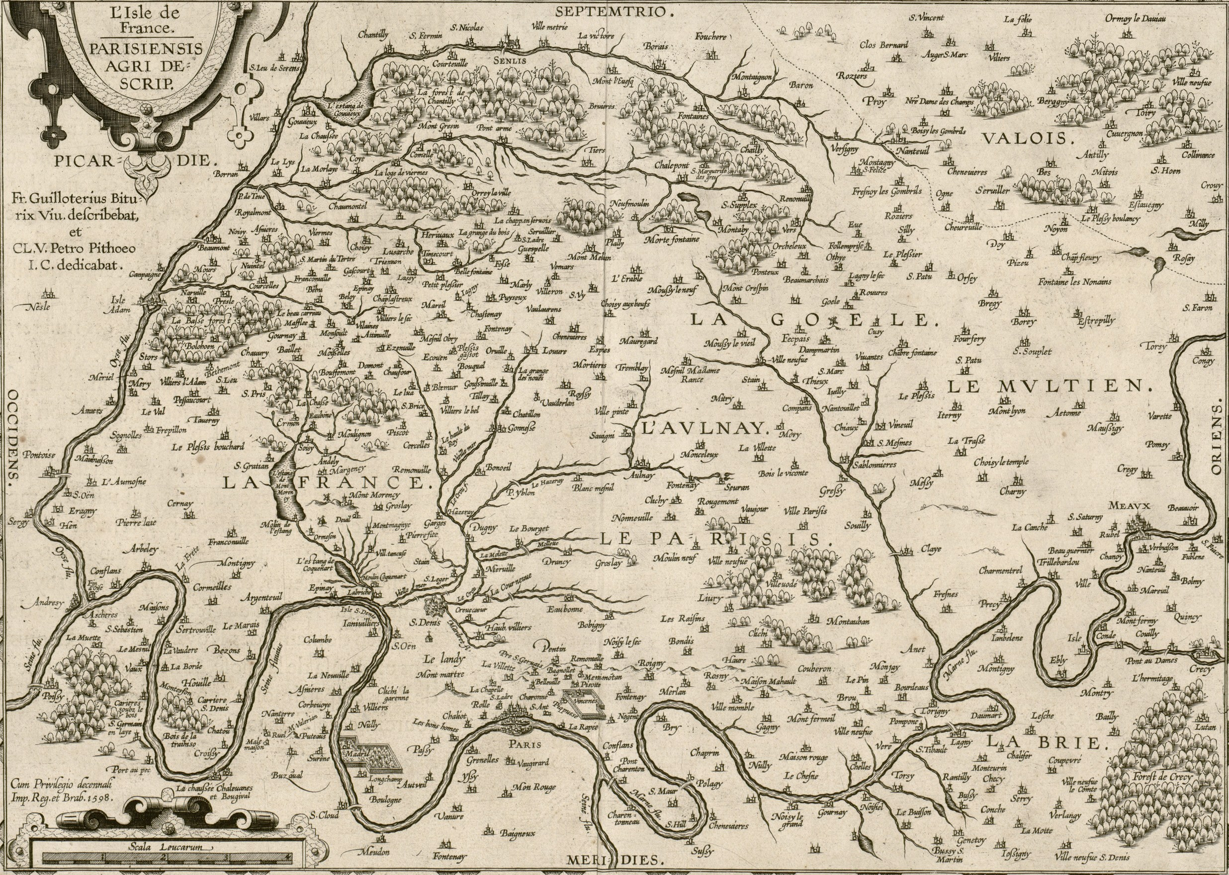 Plan de l'Isle de France en 1598.