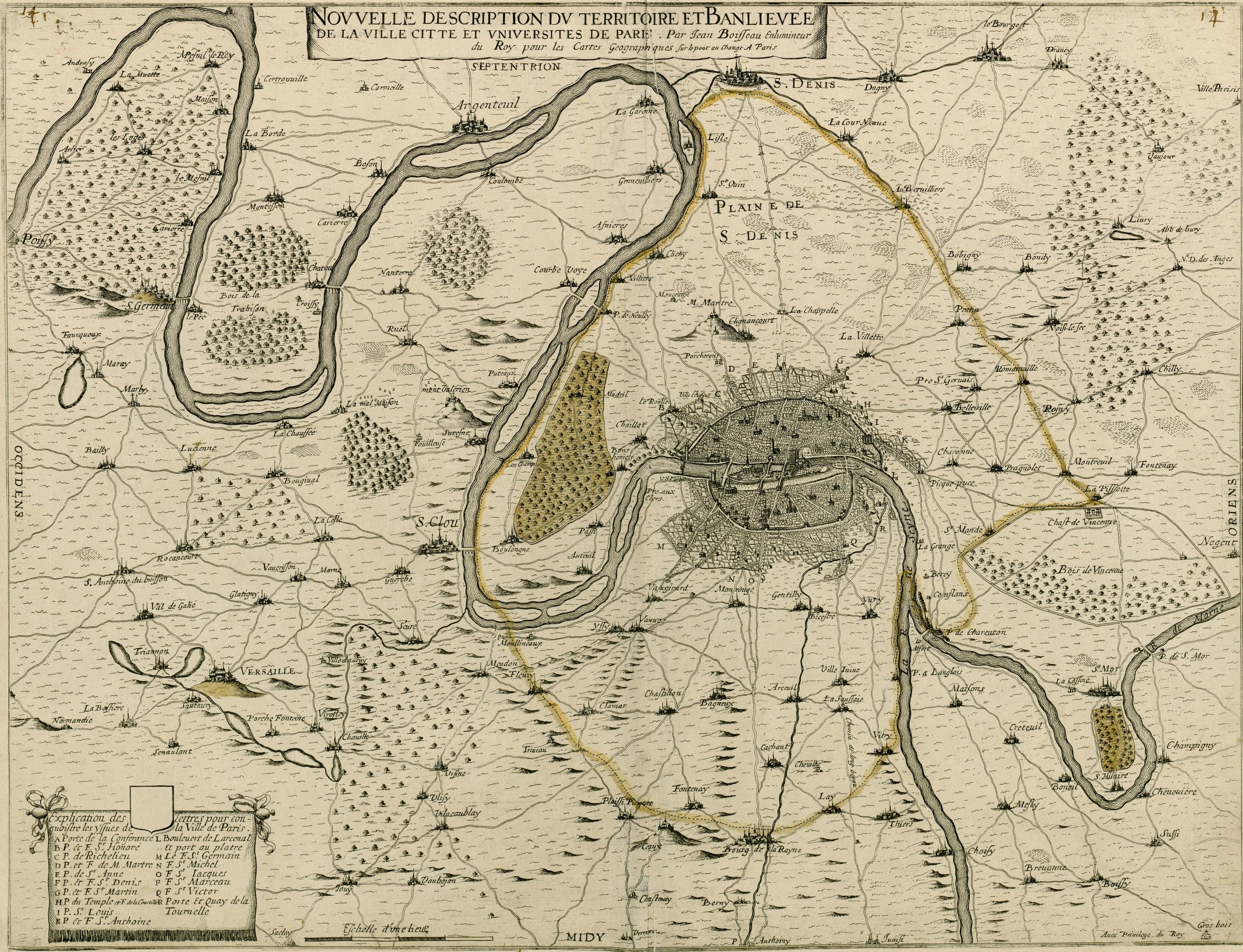 Plan de Paris et sa Banlieue en 1645.